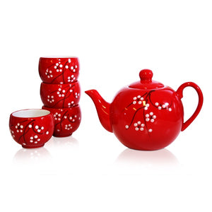 Red Blossoms Teapot & 4 Cup Set