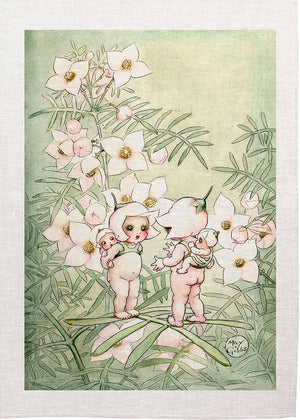 May Gibs Flower Baby Chat Tea Towel
