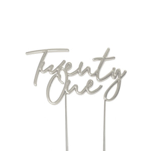 Silver Plated Cake Topper - TWENTY ONE