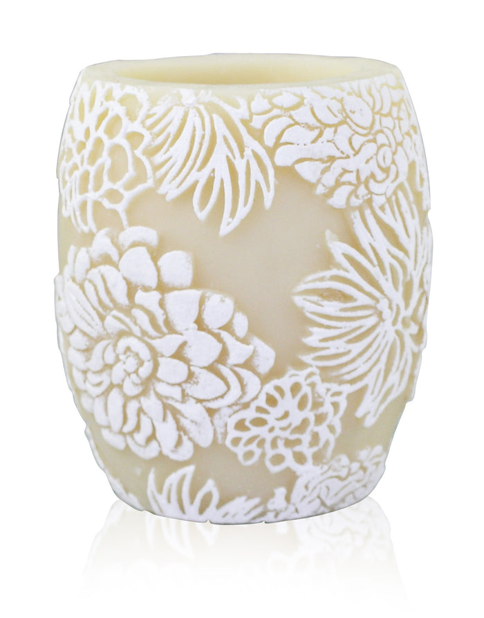 "Japanese Chrysanthemum 4""Hurricane - Ivory & White"