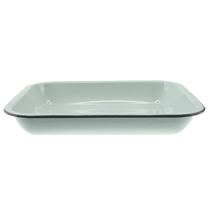 Enamel Oblong Bake Pan 37x30cm - Duck Egg Blue/Grey