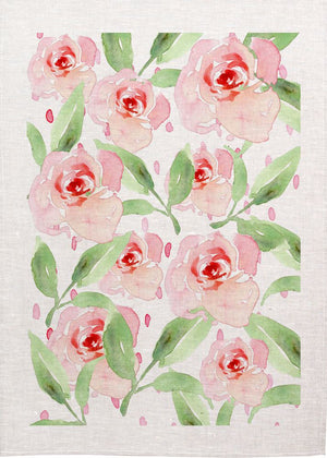Watercolour Roses Pink Linen Tea Towel