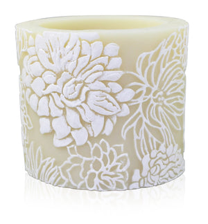"Japanese Chrysanthemum 4"" Recessed Pillar - Ivory & White"