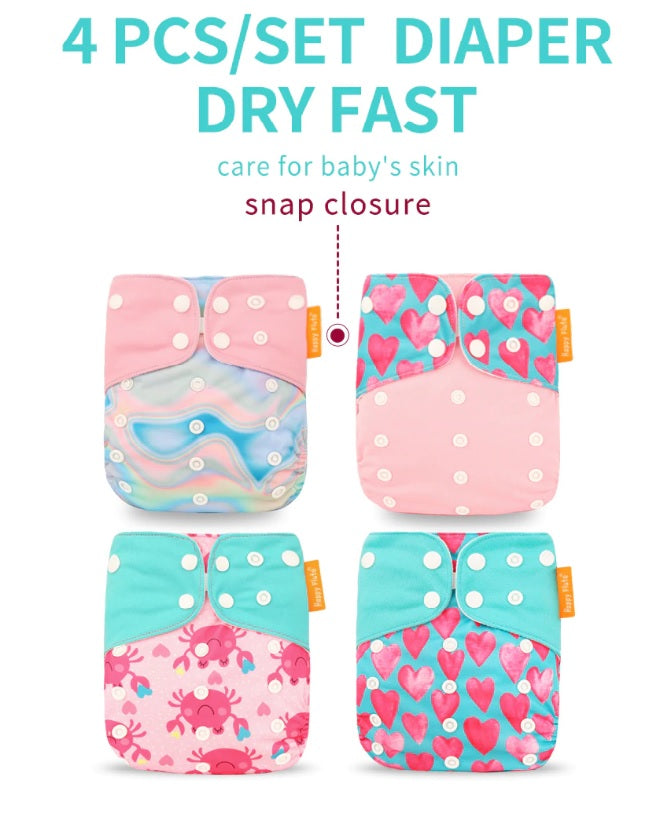 4pcs/set Washable Eco-Friendly Cloth Diaper Adjustable Nappy Reusable Cloth Diapers (Fit 0 - 2 years old : 13kg) baby - brilliantshop.site