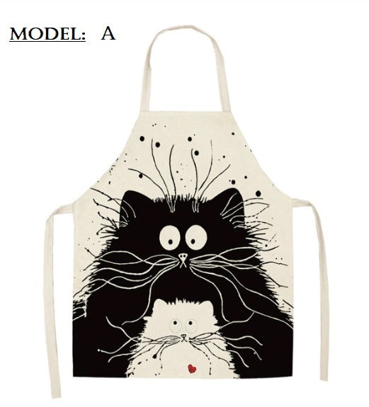 1Pc Kitchen Cooking Apron Cute Cat Printed Home Cotton Apron - brilliantshop.site