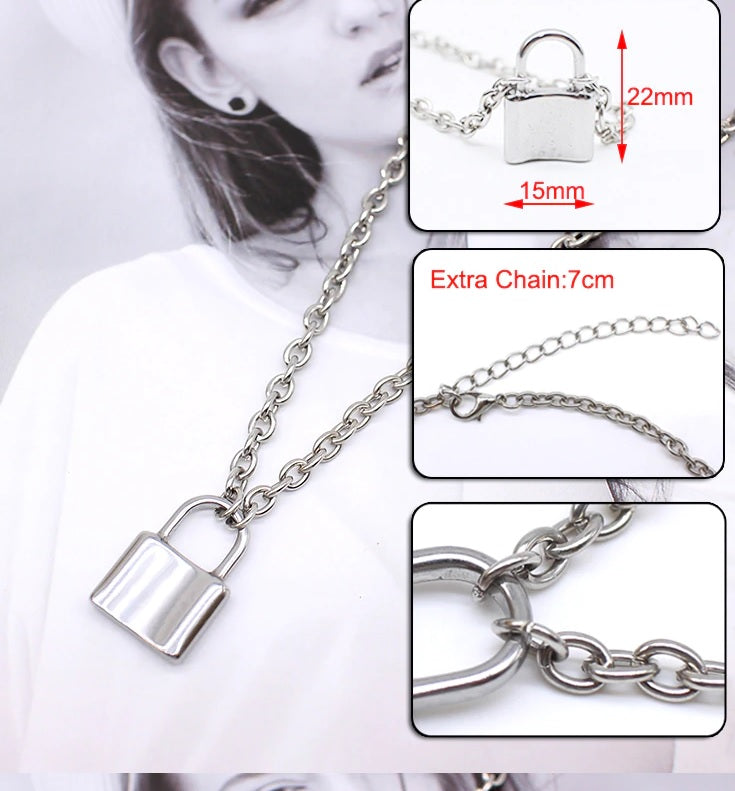 Stainless Steel Silver Color PadLock Pendant Necklaces (Chain Lock Necklaces) - brilliantshop.site