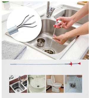 Flexible Stainless steel claw spring drain cleaning tools Kitchen pipeline dredge hair Sewer Filter clean up the blockage - brilliantshop.site
