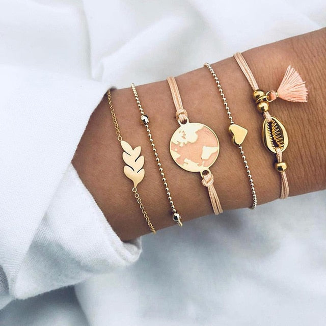 5Pcs/set  Gold Color Moon, Leaf, Crystal, Opal Open Bracelet for Women (Beach Bangle) - brilliantshop.site