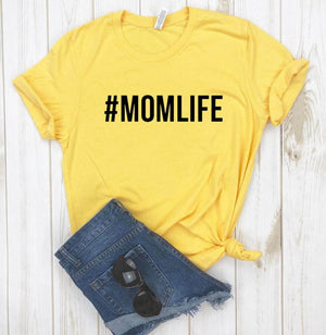 #MOMLIFE Letters  Women T-shirt Cotton - brilliantshop.site