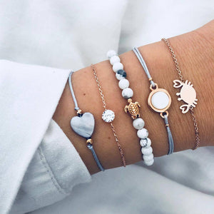 Mix Turtle Heart Pearl Wave LOVE Crystal Marble Charm Bracelets for Women - brilliantshop.site