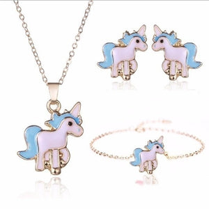 4pcs/set Necklace Earrings Unicorn (Pink & Blue) - brilliantshop.site