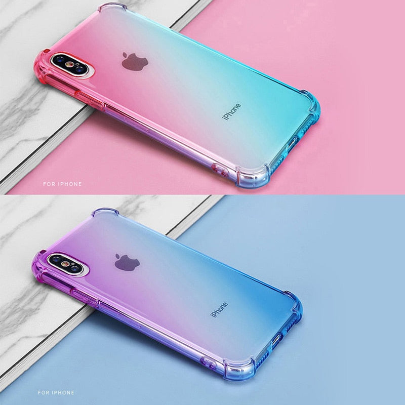 Rainbow  Color Soft Clear Phone Case For iPhone / Transparent Shockproof Cover - brilliantshop.site