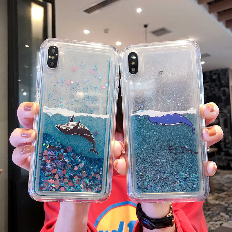 Black Whale Phone Case / Pink Panther Phone Case (Quicksand Back Cover Case) - brilliantshop.site