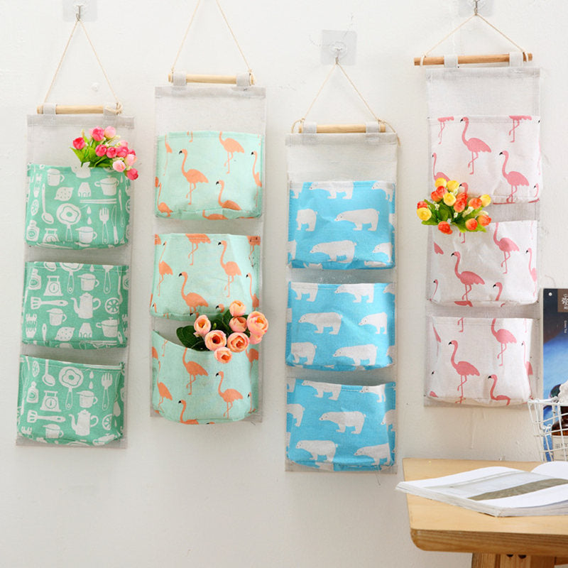 Flamingo Wall Mounted Storage Bag Wardrobe Organizer Hanging Organizer Sundries Cosmetics Toys Bag Hang Cosmetics Toys Organizer - brilliantshop.site