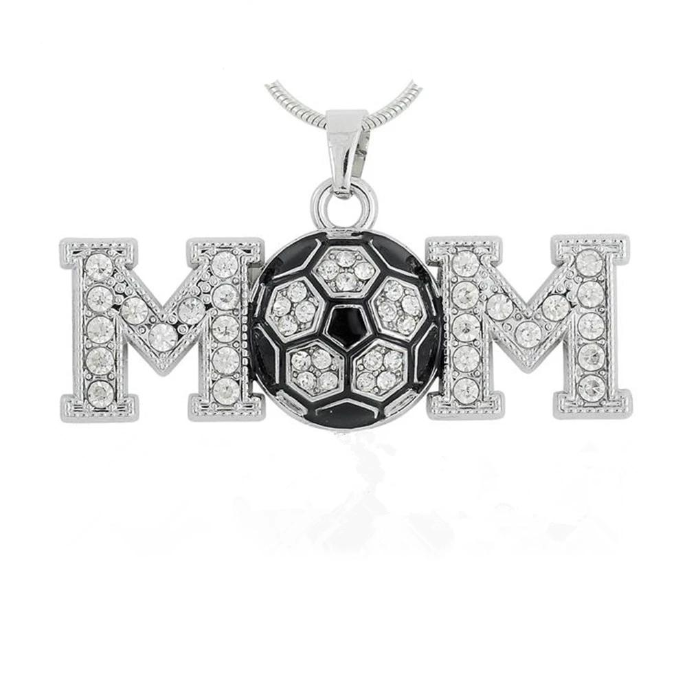 Football MOM Soccer Crystal Charm Necklace PENDANT Sports Jewelry - brilliantshop.site