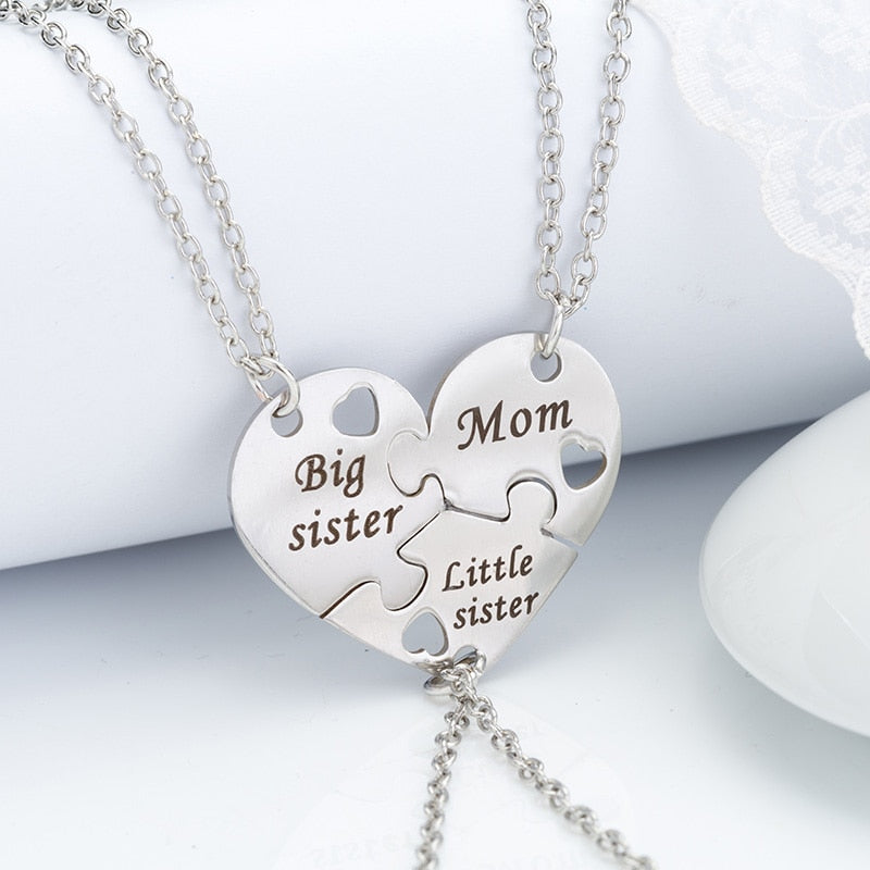 3 Pcs/Set Mother, Daughters  Silver Metal Pendant Necklace (Heart Contacted Together ) - brilliantshop.site