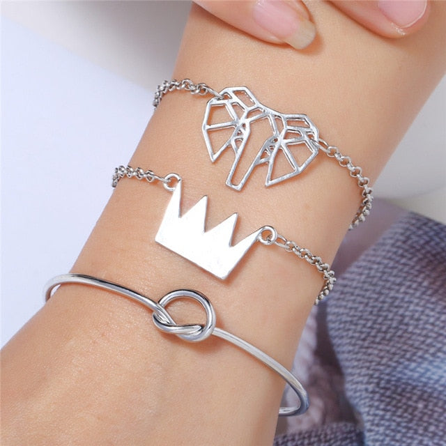 4 Pcs/Set Arrow Knot Round Crystal Bracelets, Set Multilayer Adjustable Open Bracelet for Women - brilliantshop.site