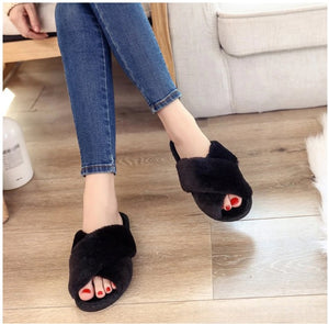 Women Warm Faux Fur  Slippers, Flip Flop Slippers Open Toe - brilliantshop.site