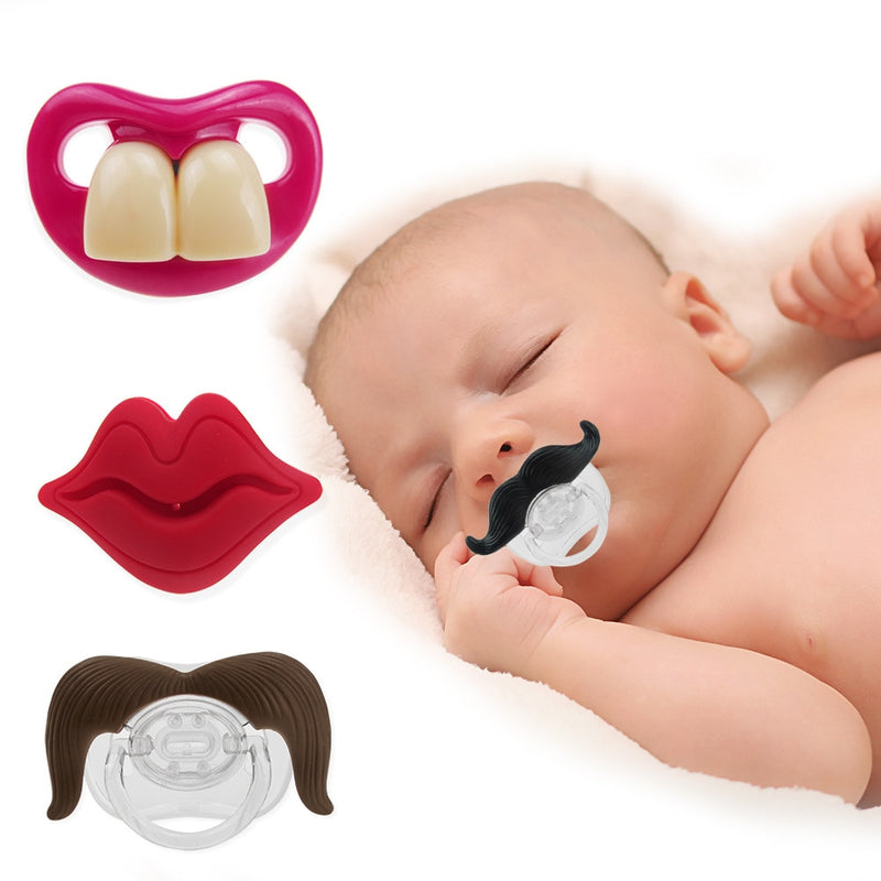 Teeth, lips, mustache pacifier