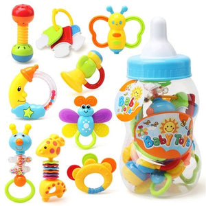 Baby bottle fill with rattles