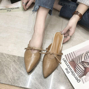 Women's outer wear baotou pointed slippers