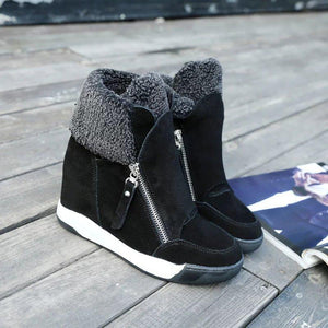 Women's fashion solid color fleece wedge snow boots