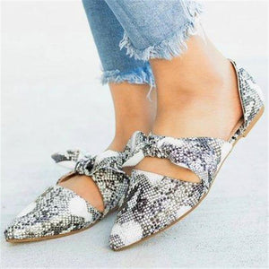Casual Leopard Bow Pointed Snake Flat Shoes