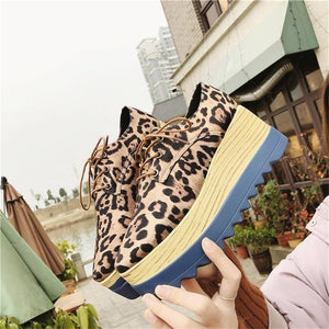 Fashion lace-up ladies leopard print platform shoes