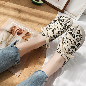 Women's fashion solid color leopard horseshoe toe flat shoes