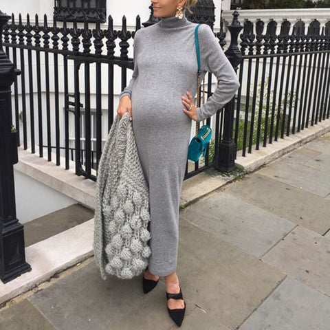 Maternity casual high collar solid color slim long dress