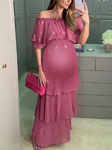 Maternity Sweet fuchsia word collar ruffled five-point sleeve dress