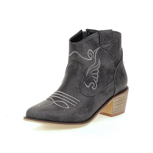 Vintage Women Mid Heel Embroidery Ankle Boots