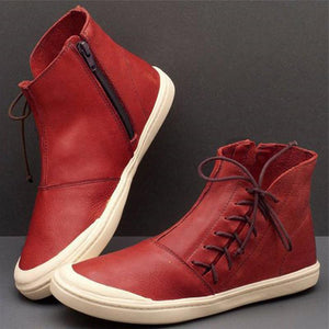 Women's retro solid color lace-up flat boots