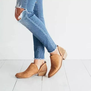 Women's casual solid color hollow ankle boots