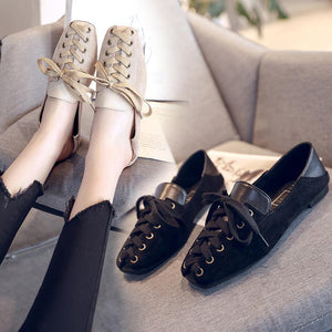 College style shallow mouth low heel square flat shoes