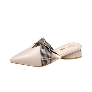 Women's gentle and versatile pointed half slippers