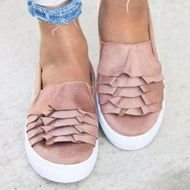 Women's casual solid color ruffled flats