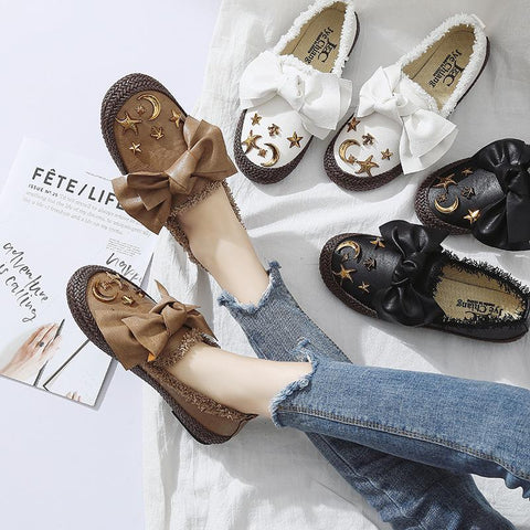 Stylish sweet plush bow flats