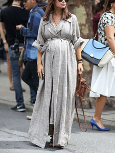 Maternity Casual Grey Lapel Loose Lace Dress