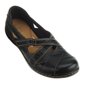 Women's fashion solid color hollowed out Velcro flats
