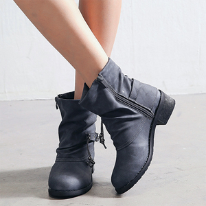 Women's fashion solid color thick heel Martin boots