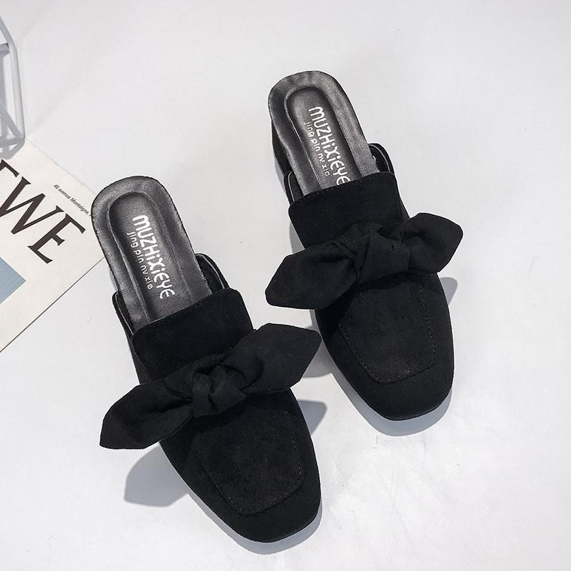 Women's square head bow wearing sandals and slippers