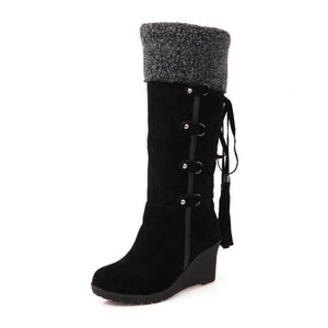 Women's fashion solid color fringed wedge boots