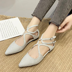 Women's Fashion Flat-Bottomed Word Buckle Wild Single Shoes