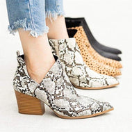 Fashion Animal Pattern Thick Ankle Boots