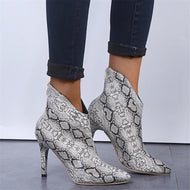 Fashion snakeskin pointed toes back zipper high heels