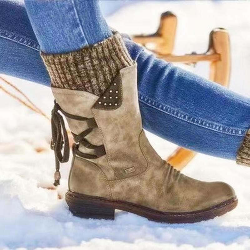 Casual Women Warm Back Lace-up Low Heel Boots