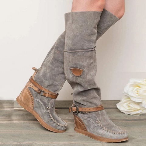 Women's simple solid color suede belt buckle decorative boots
