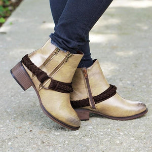 Women's fashion solid color belt buckle ankle boots
