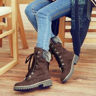 Women's fashion solid color fur collar straps Martin boots